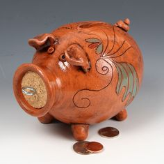 Clay Piggy Bank by pattysheppardart on Etsy, $30.00