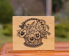 Basket of Flowers Wood Mounted Rubber Stamp by PSX F-467  | eBay
