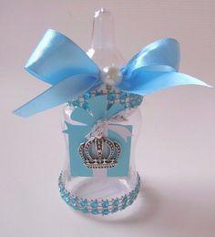 10 Robin Egg Blue Baby Bottle Favors Baby Shower King Queen Crown Newborn Child #BabyShower