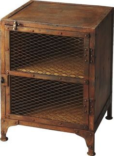 Industrial Modern End Table Iron Rust Finish With Cage Cabinet This unique industrial chairside chest appears as if it came right out of an iron works factory. Industrial Chic Style, Modern Industrial, Industrial Furniture, Farmhouse Furniture, Industrial Farmhouse, Vintage Industrial, Rustic Farmhouse, Western Furniture, Furniture Vintage