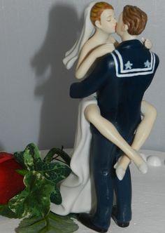 Eager bride and US Navy sailor cake topper http://www.etsy.com/listing/97259624/usn-military-sailor-groom-uniform