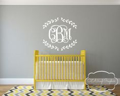Vine Monogram Vinyl Wall Decal by OZAVinylGraphics