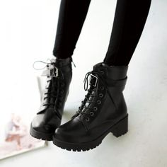 New-Women-Round-Toe-Lace-Up-Flat-Heel-Ankle-Boots-Buckle-Strap-Motorcycle-Shoes