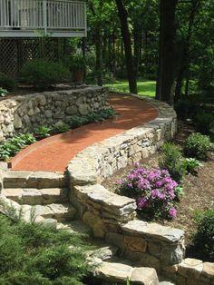 Gartenweg gestalten-Stein Ziegel-Treppen Design