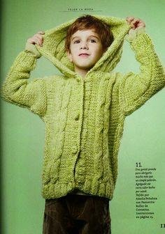 Crochet y Dos agujas: Patrones de saco con capucha tejido con dos agujas...