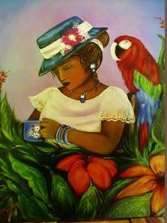 """arte naif """"Mamy e il pappagallo"""""""