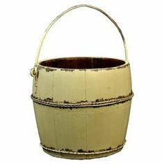 """Corral outdoor accessories or garden tools in this pine wood bucket, showcasing 1 top handle and a weathered butter-hued finish.    Product: BucketConstruction Material: Wood and ironColor: ButterFeatures: HandmadeDistressed finish Dimensions: 9.5"""" H x 10.5"""" Diameter"""