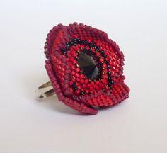 Jewelry Ring Beaded flower Poppy flower by PolinessJewelry