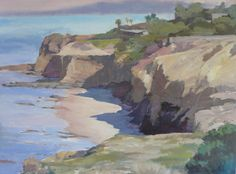 A view of Sunset Cliffs, near Ocean Beach in San Diego. I walk my dogs here almost every day. It has some great trails and views to Catalina and the Coronado Islands in Mexico on a clear day. 30x40 original acrylic/oil on canvas available at www.JeffYeomans.com