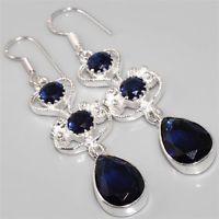 Faceted Blue Tourmaline, Silver Earrings 61mm Gemstone Jewellery
