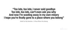 Bullet For My Valentine - A Place Where You Belong lyrics