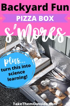 Pizza box solar oven smores are a fun and yummy outdoor activity for kids! This backyard science experiment can be done at preschool or the campground... as long as you have smores ingredients, a box, and sunlight! All kids will enjoy this treat - from toddlers to middle school aged kids. #scienceexperiment #outdooractivity #smores #takethemoutside