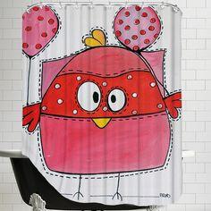East Urban Home Pink Birdz 1 Shower Curtain