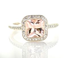 14K Princess Morganite Diamond Engagement Ring Morganite Ring Diamond Halo Custom Bridal Jewelry. $982.00, via Etsy.
