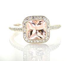 Princess Morganite Diamond Engagement Ring Morganite Ring