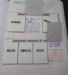 Classifying Triangles Interactive Notebook Page - flapbook with scalene, acute, obtuse, right, equilateral, isosceles