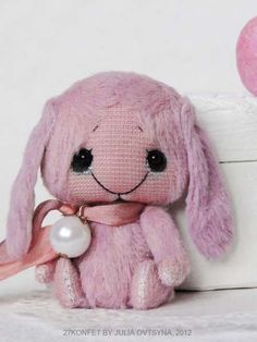 Small pink bunny and apple by By Julia Ovtsyna (27konfet) | Bear Pile