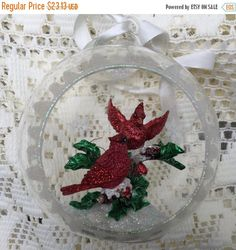 Sale Cardinal Christmas Tree Ornament Frosted Blown Glass Sphere Ball Pair of Glittery Cardinals Perched Evergreen Branch Estate Item by TreasureofMemories on Etsy