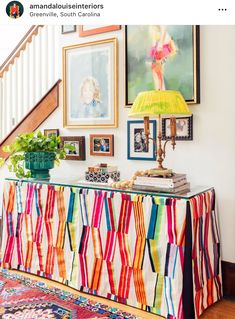 Skirted table with Pierre Frey upholstery Pierre Frey, Foyer Decorating, Interior Decorating, Interior Design Vignette, Entry Tables, Entry Foyer, Cozy House, Colorful Decor, Bold Colors