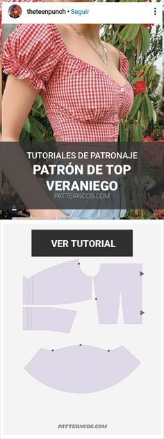Patrón de crop top veraniego - Icicle Tutorial and Ideas Fashion Sewing, Diy Fashion, Ideias Fashion, Clothing Patterns, Sewing Patterns, Poncho Patterns, Loom Patterns, Tops Diy, Costura Fashion