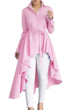 Stylish Pink Striped Lapel Shirt Belted Her Fashion Blouse Top Girls Blouse, Mode Hijab, Chic Dress, Blouse Styles, Shirt Blouses, Blouses For Women, Ruffle Blouse, Tunic Tops, Victoria