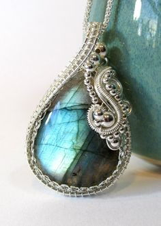 Teal Labradorite Wire Weave Pendant Sterling by BellaDivaBeads