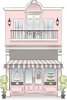 A bakery store front. Idea: If u have a second floor viable for business, then install French windows on it and convert to… Patisserie Design, Bakery Design, Cafe Design, Flat Design, Store Design, House Design, Store Front Design, Boutique Patisserie, Decoration Patisserie