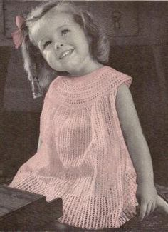 So Sweet Little Girl Dress Vintage Crochet Pattern 009 by knittedcouture on Etsy