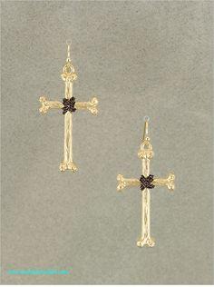 Black and Gold Cross Earrings