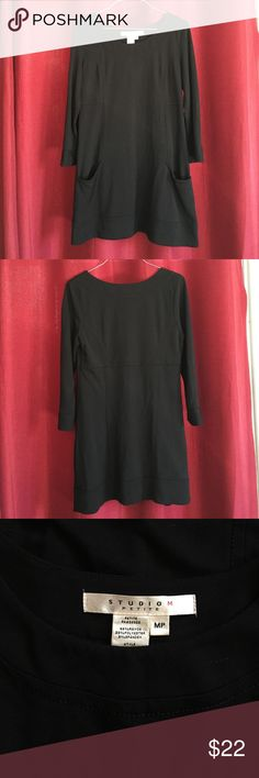 Studio M black casual dress with pockets. Very cute black basic dress. Looks great with boots. Size is MP but fit more like a small. Studio M Dresses