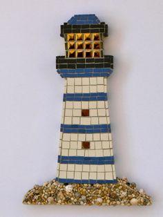 Yellow Light Lighthouse Mosaic Wall Art by Rana Cullimore www.ranacullimore.co.uk Mosaic Artwork, Mosaic Wall Art, Mirror Mosaic, Stained Glass Birds, Stained Glass Panels, Fused Glass, Mosaic Crafts, Mosaic Projects, Mosaic Pots