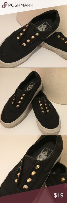 GOLD STUDDED BLACK VANS SIZE 6 Gently used Vans Shoes Sneakers