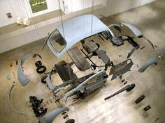 Damian Ortega, in Cosmic Thing one of his most celebrated works disassembled a Volkswagen Beetle car and re-composed it piece by. Damian Ortega, Vw Emblem, Go Kart Plans, Institute Of Contemporary Art, Beetle Car, Vw Vintage, Auto Body Repair, Found Object Art, Vw Cars