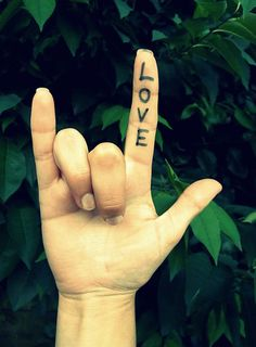 """""""Love"""" in American Sign Language."""