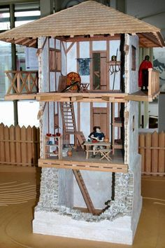 *(use cardboard boxes, sticks n small rocks) Reconstruction of a Roman watchtower. Roman Architecture, Ancient Architecture, Ancient Rome, Ancient History, Medieval, Roman Britain, Roman Legion, D House, Roman History