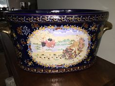 Made in France Hand Painted Porcelain Foot Bath ~ Home Decor, Vintage, Chinoiserie, Venetian,