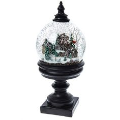 Snowy Scene Pedestal Snow Globe   Christmas   Traditional Collection - Cracker Barrel Old Country Store