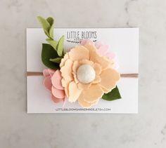 Felt Bloom Headband APRICOT by LittleBloomsHandmade on Etsy