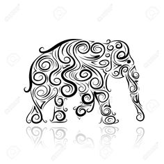 Ornamental elephant silhouette for your design