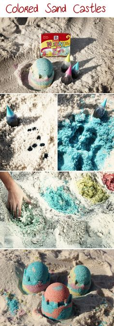 "Mix a few drops of food coloring (Neon works best) in the sand and ""Voila""… colored sand!  Kids LOVE it!      (The food coloring will stain hands for a bit, but easily washes out with plenty of ocean/pool play.  It will not stain clothes).    HAVE FUN MAKING THINGS COLORFUL!!!!!"