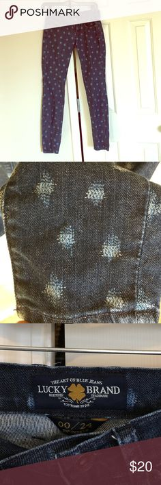 """Dark Blue Denim Jeans Dark Blue Denim with Light Colored Patches. I'm 5'5"""" and these go down to my ankle. 00/24 with 29"""" Inseam. ONLY Worn Once. Lucky Brand Jeans Straight Leg"""