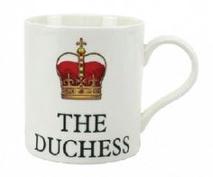 """The Duchess China Mug BoxedThe perfect gift boxed mug for the """"Duchess"""" of the family.  Made from fine china.  Size - Height 9.5cm/3.75in"""