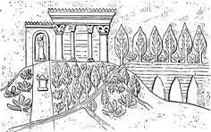 Représentation des jardins royaux de Ninive, d'après un bas-relief du palais de Sennachérib.