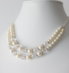 Bridal Necklace-Swarovski Necklace-Bridal Jewelry-Swarovski Pearl Crystal Necklace-no.02n