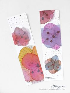 Items similar to Red Purple Orange Dot Blooming Flower Nature Watercolor Painting Illustrated Art Paper Bookmarks - Book Lover Gift on Etsy Watercolor Paintings Nature, Watercolor Painting Techniques, Pen And Watercolor, Watercolour Tutorials, Abstract Watercolor, Watercolor Illustration, Painting & Drawing, Paper Bookmarks, Watercolor Bookmarks