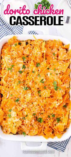 Chicken Dorito Casserole Recipe, Macaroni Casserole, Mexican Chicken Casserole, Casserole Recipes, Doritos Casserole, Doritos Chicken, Quick Dinner Recipes, Quick Meals, Chicken Cassrole