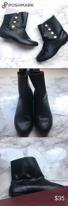 Black Chinese Laundry ankle boots Cute and fashionable black ankle boots. Only worn a handful of times, still in great condition. The buttons on the side are a snap closure to allow easy access. Top inside lining is a little frayed as pictured but not really noticeable. Narrow fit. No trades. Chinese Laundry Shoes Ankle Boots & Booties