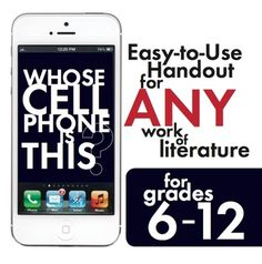 Character Cell Phone Activity -for use with any literature based unit.  From teacherspayteachers.com