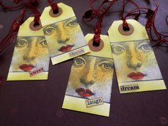 4 Handmade Stamped And Inked MY MUSES Tags  Word by PaperPastiche, $5.95