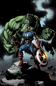 The Hulk and Captain America by Jack Herbert
